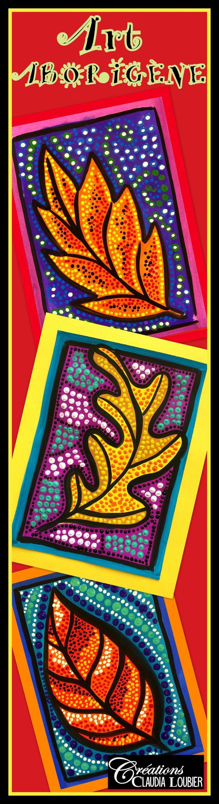 L'automne arrive à point ! Pourquoi ne pas la souligner avec ce projet d'art aborigène ?  Les aborigènes représentent souvent des Kangourous, des serpents, des lézards et beaucoup de symboles.  Dans ce projet, notre thème sera la feuille d'automne. Une belle façon de travailler les couleurs chaudes et froides.   Ce projet très complet vous aidera à initier vos élèves à l'art aborigène. Les élèves seront fiers de tous ces points et aussi surpris par leur