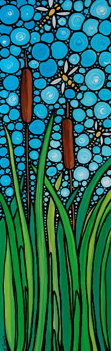 Zen Cats Blue Sky Abstract Mosaic Art by BuyArtSharonCummings
