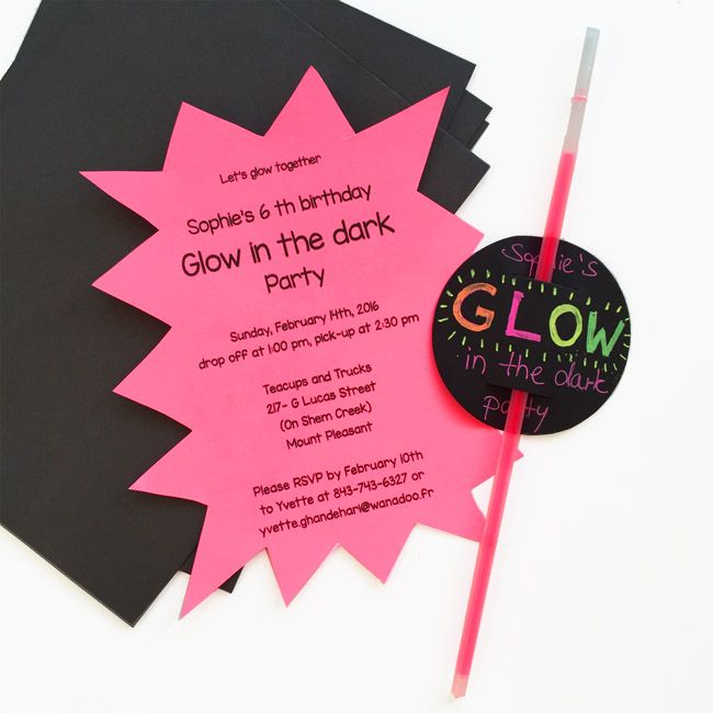 Einladung Glow in the dark-Party/ Disco- Party/ Schwarzlicht-Party