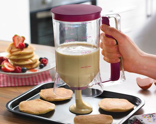 Batter & Mixture Dispenser £17 Plastic container with easy dispensing handle. Dispenses the perfect amount every time. No mess, allows you to dispense the perfect amount. Simple to use. Great for making muffins too! Perfect for cakes, muffins and pancakes.