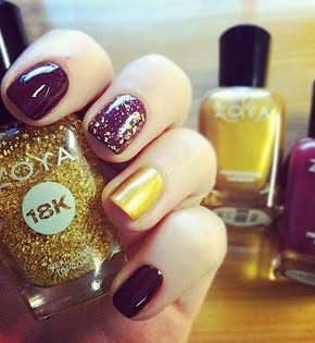Double Gold Accent Nail