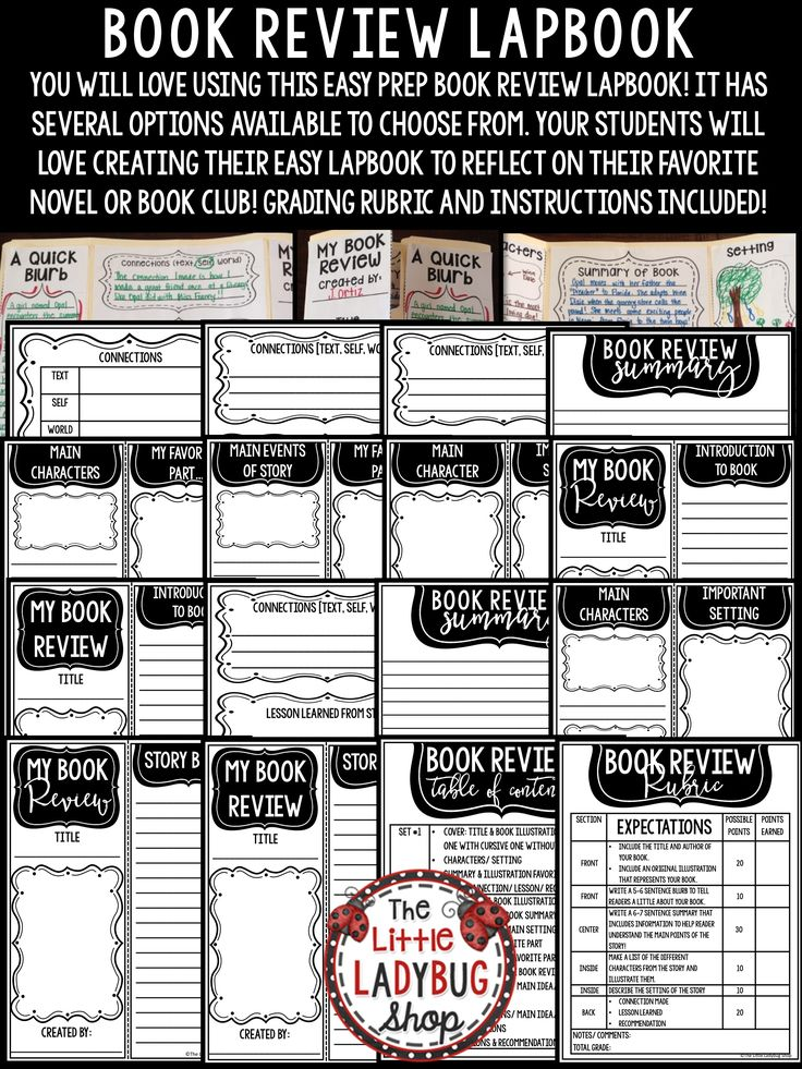Book review template activity for any book report template