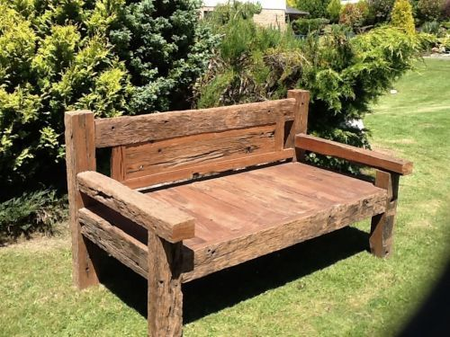 this beautifully rustic railway sleeper bench these benches are full of charm and are manufactured from exactly what it says on the tin