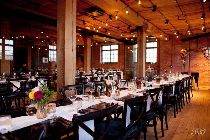 Wedding reception at Charbar | Industrial wedding venue in Calgary located in the Simmons building | Captured by Calgary wedding photographer Tara Whittaker