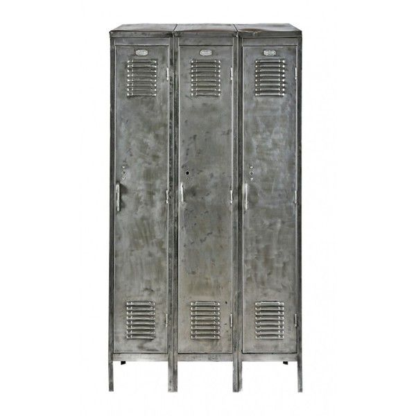 c. 1940's american vintage industrial brushed metal freestanding... ($950) ❤ liked on Polyvore featuring home, furniture, storage & shelves, american vintage, american vintage furniture, door locker and door furniture