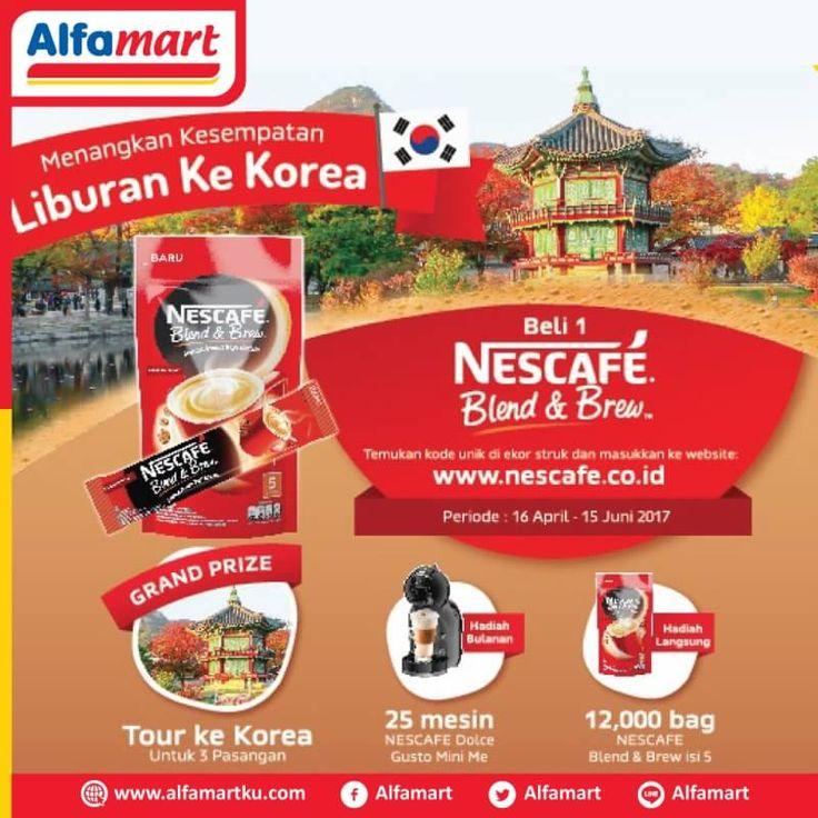 Menangkan kesempatan Liburan ke Korea setiap pembelian 1 bag Nescafe Blend & Brew. Info http://ow.ly/b2Tf30cjliB