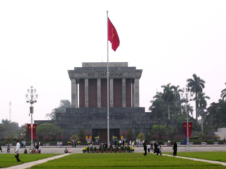 The Ho Chi Minh Mausoleum is a large memorial in Hanoi, Vietnam. It is located in the centre of Ba Dinh Square, which is the place where Vietminh leader Ho Chi Minh read the Declaration of Independence on September 2, 1945, establishing the Democratic Republic of Vietnam.