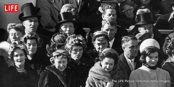 Four past, present and future first ladies at President John F. Kennedy's inauguration ceremony, including (L-R) Pat Nixon, Mamie Eisenhower, Lady Bird Johnson and new First Lady Jacqueline Kennedy, 1961