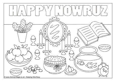 happy nowruz colouring page
