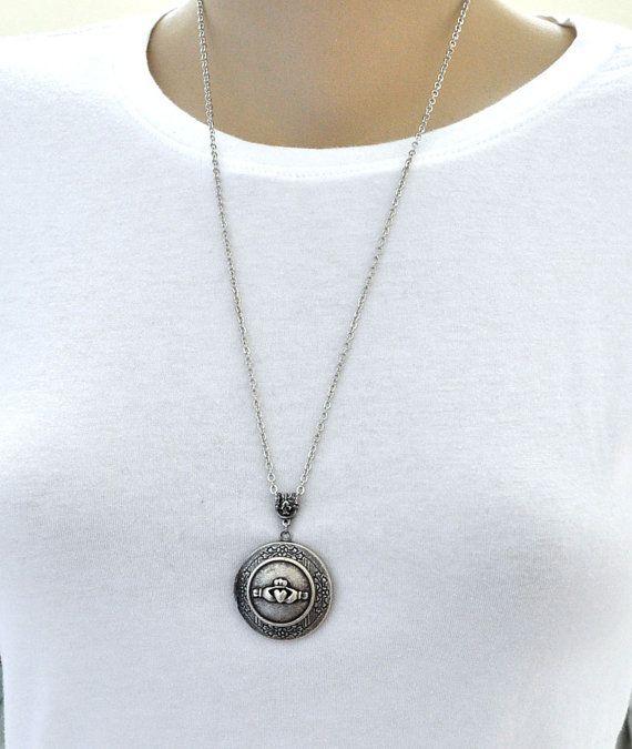Silber Medaillon-Kette Claddagh Medaillon Collier Silber