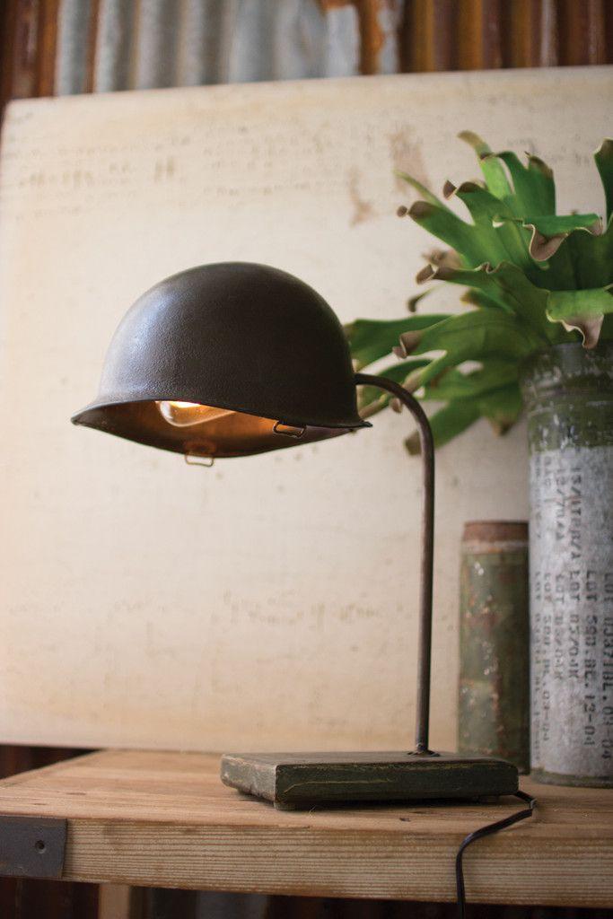 VINTAGE ARMY HELMET DESK LAMP