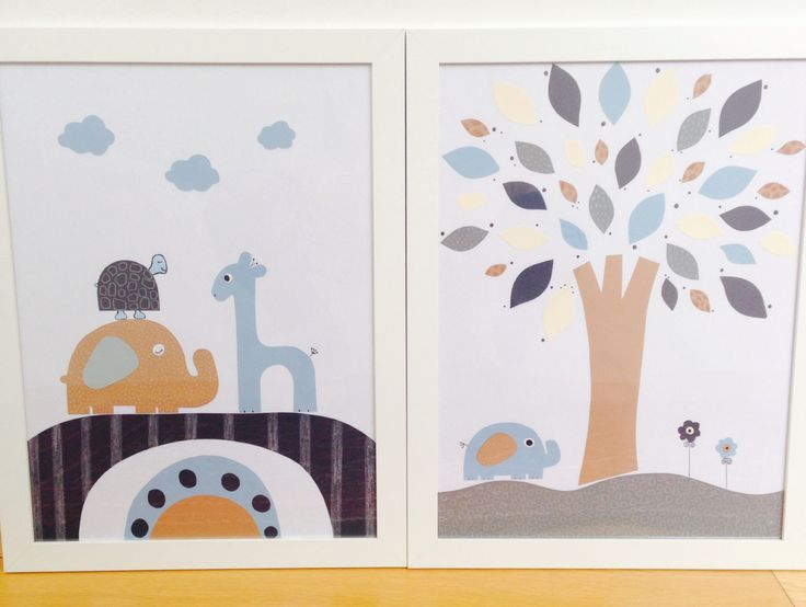 "Nusery wall decoration ""Little elephant & friends"""