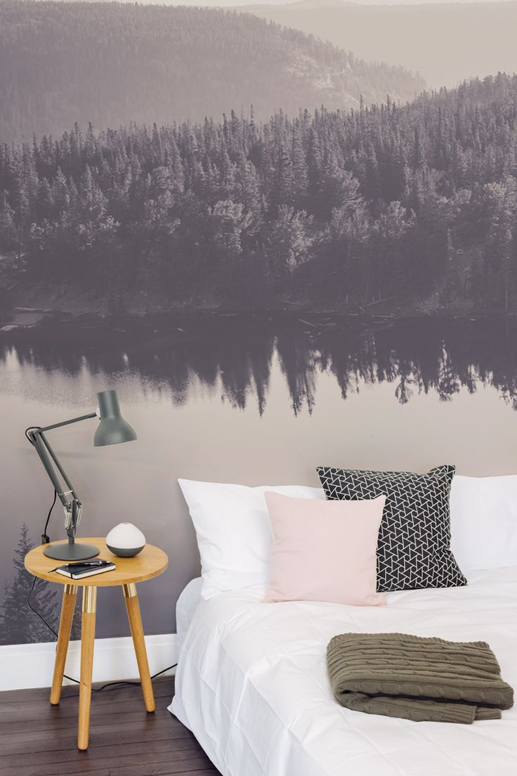 Fall Asleep Under This Hazy Forest Landscape With This Beautiful Wallpaper Design Acting As An