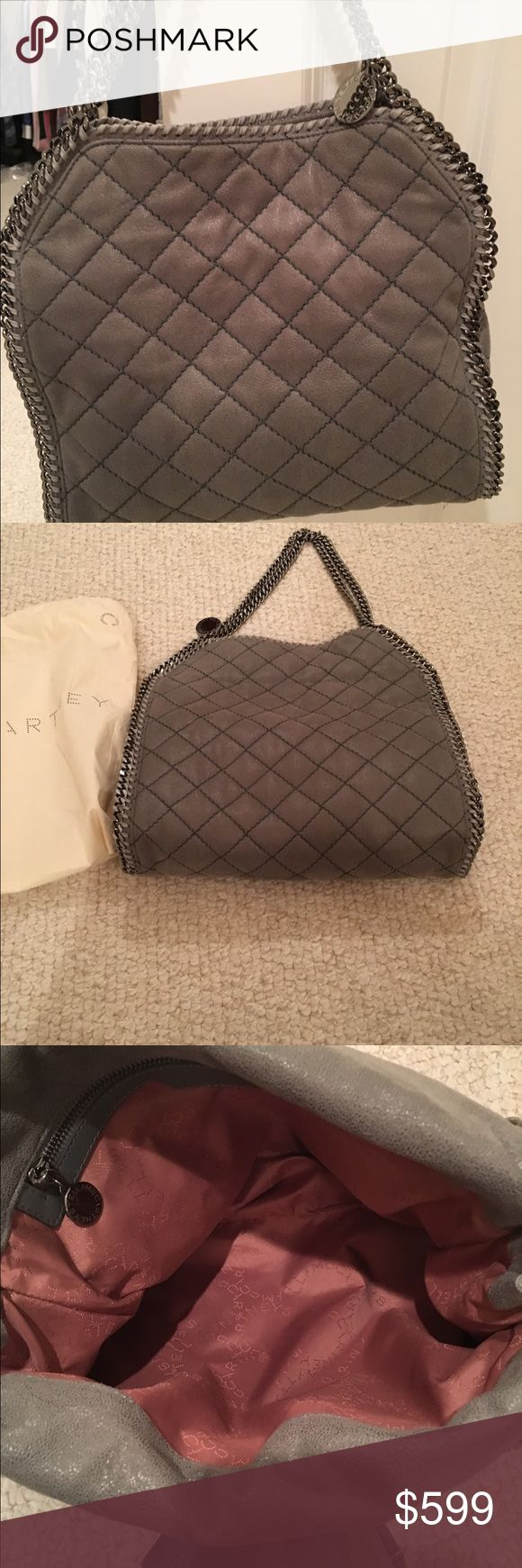 Stella McCartney Falabella Gorgeous & only carried once! Stella McCartney gray quilted suede small Falabella shoulder bag. This is Stella's most famous style & still for sale at NORDSTROM.  Silver chain straps & lightweight!  Large inside zipper pocket. Stella McCartney Bags Shoulder Bags