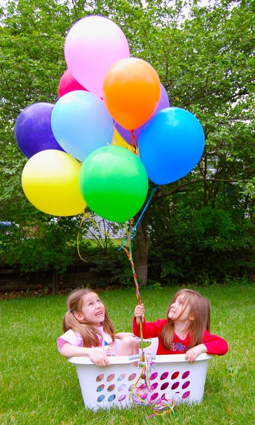 pretend to go on a hot air balloon ride in the backyard