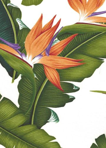 This bird of paradise fabric with banana leaves also comes in a black and navy background see those here: BarkclothHawaii.com