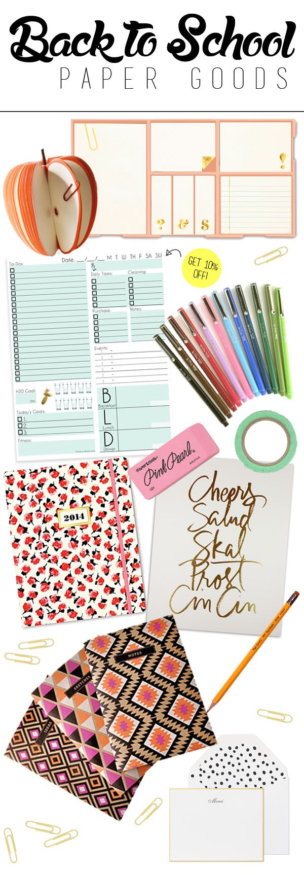 Back To School Paper Goods: products to get  you organized and stylish this year.