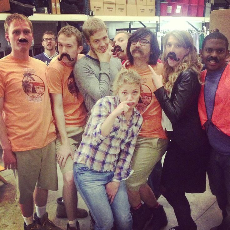 Studio C. They all wish they had a mustache. Except Jeremy. He REALLY does! Whitney is hiding between James and Stephen, but where is Matt