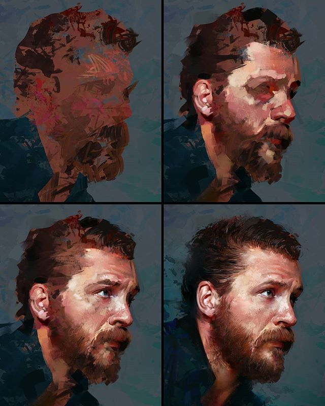Process stages to my Tom Hardy study     /   チュートリアル