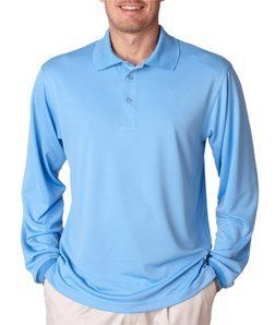 Ultraclub Adult Cool  Dry Sport LongSleeve Polo Shirt Columbia Blue XXLarge -- More info could be found at the image url. Note:It is Affiliate Link to Amazon.