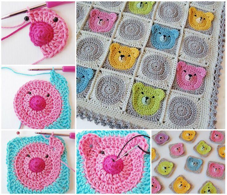 Crochet Teddy bear Granny Square Blanket