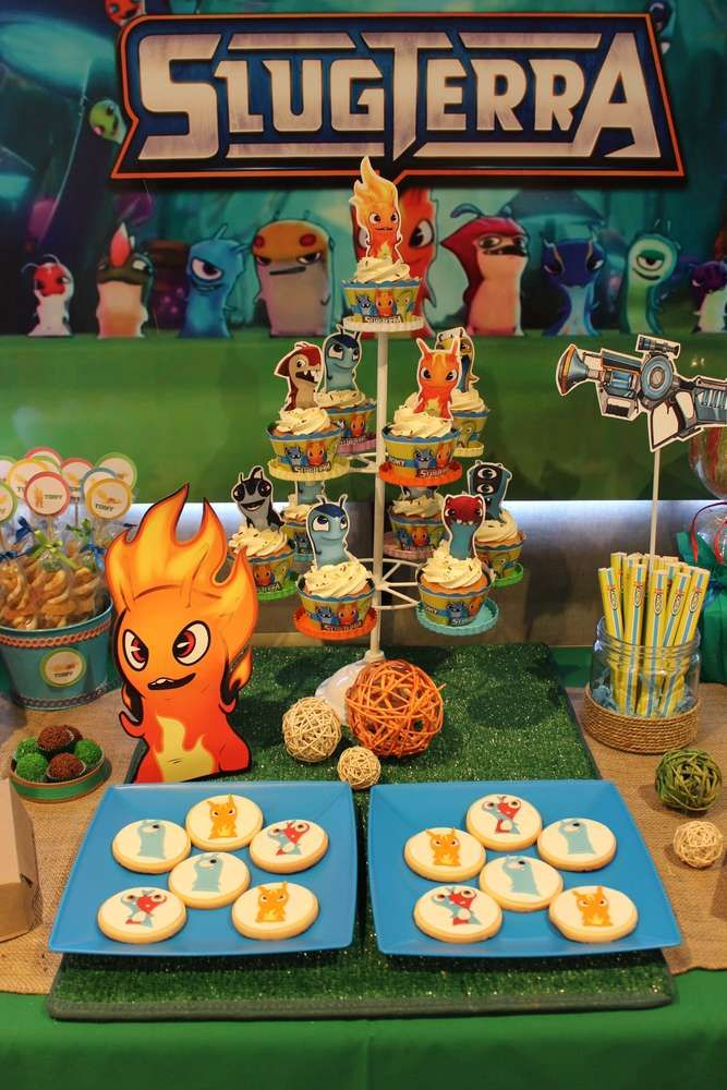 Slugterra Birthday Party dessert table! See more party planning ideas at CatchMyParty.com!
