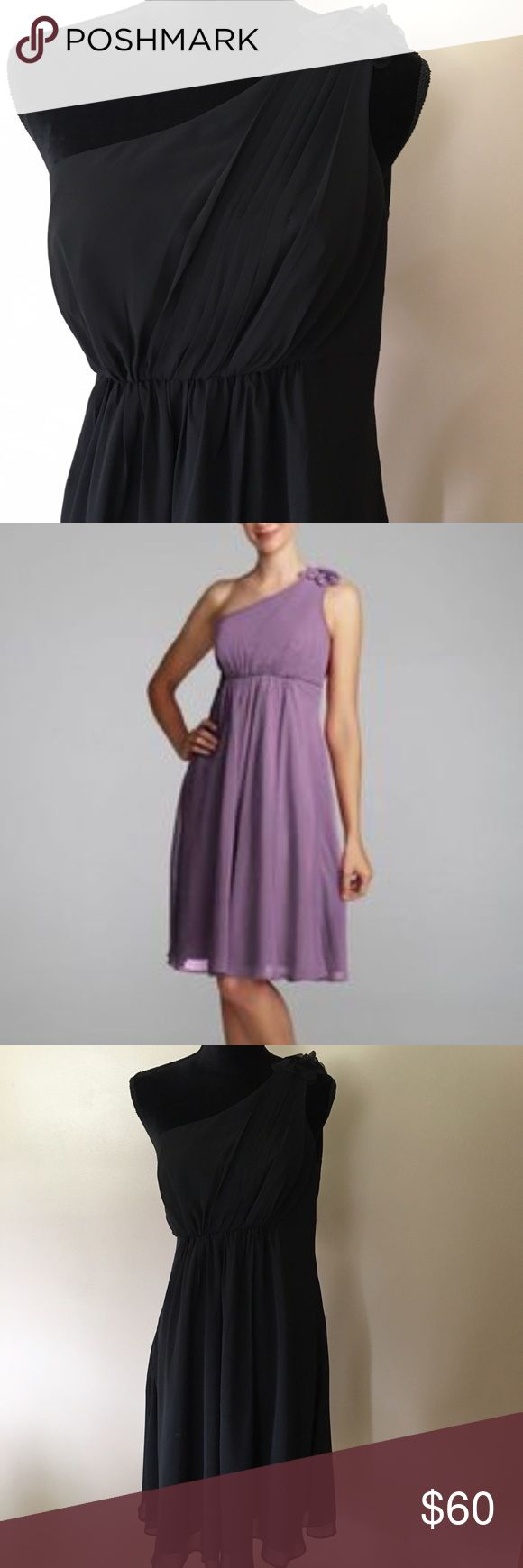 David's Bridal Size 12 One Shoulder Chiffon Dress The dress is black the stock photo of the purple dress is just to see a better view of the details.  Size 12, new with tags.  Chiffon fabric.  Very flattering.  Never altered. David's Bridal Dresses One Shoulder