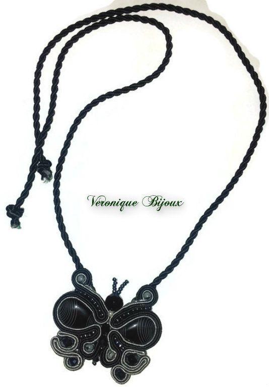 Black butterfly pendant soutache