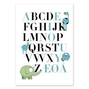 Nydelig og kult alfabet til barnerommet - eller kontoret? Du bestemmer. Dette er så søte små dyr - og med uthevede vokaler i annen farge er det også gøy å lære! Plakat poster print alfabetet alfa abc barnerom