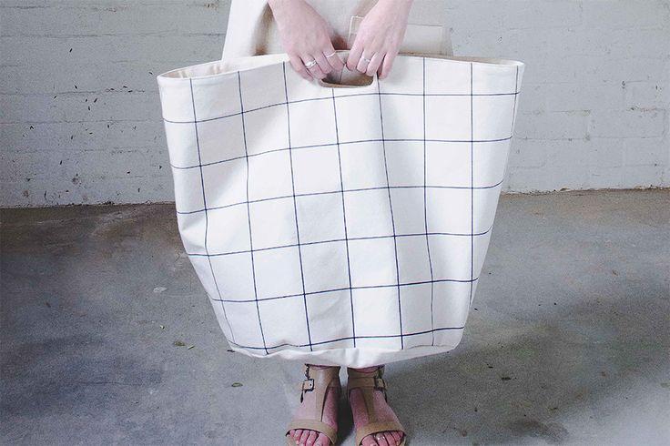 Grid print canvas basket