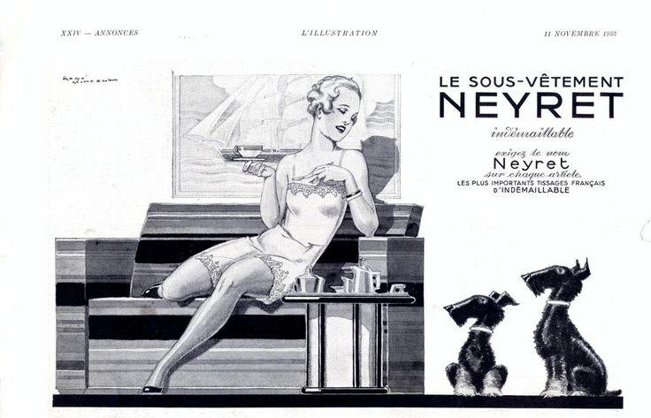 Neyret underwear vintage advertising lingerie ad, French underwear retro advertisement, vintage magazine ad 1933 by OldMag on Etsy
