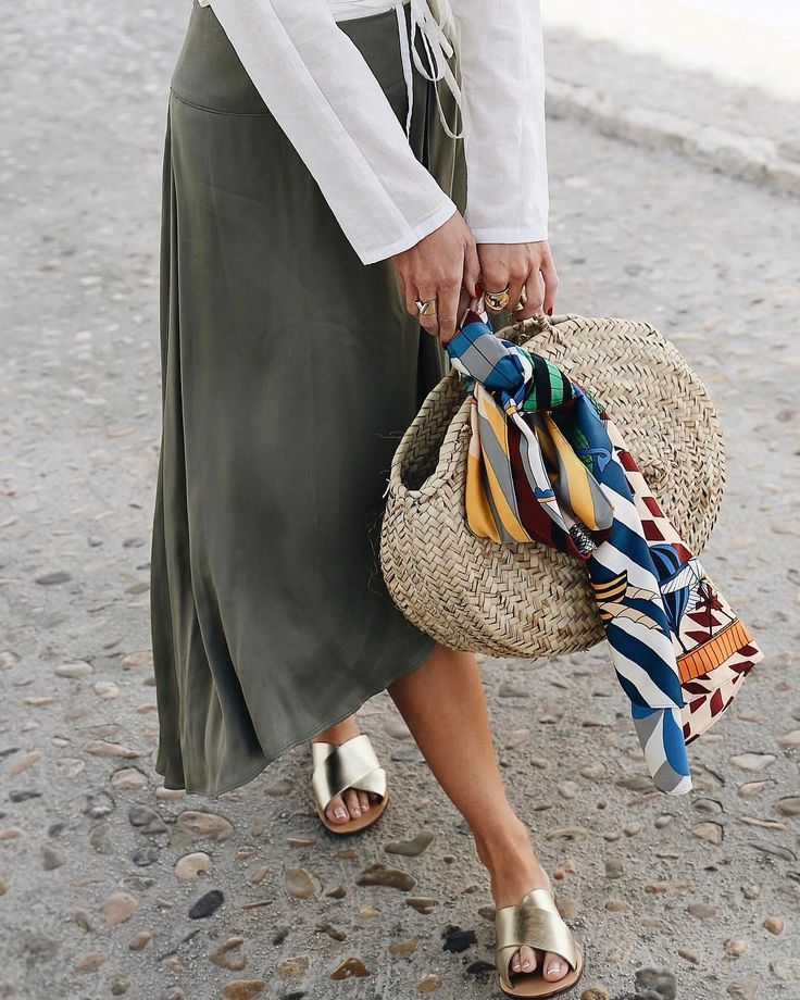 straw bag and sandals for summer