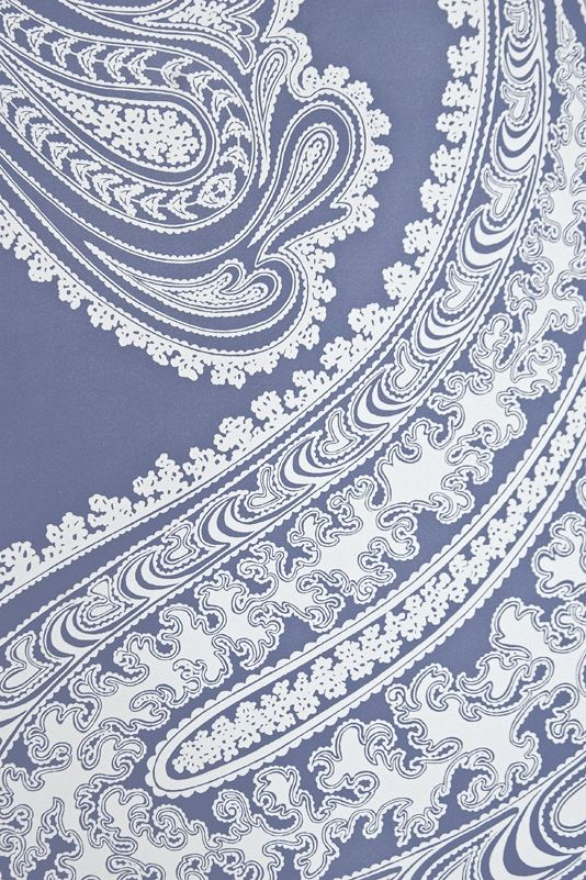 Rajapur Paisley Wallpaper Large design Paisley print wallpaper in french blue with white design.