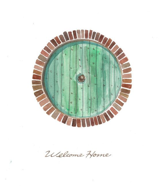 Hobbit Door, Welcome Home 8x10 original illustration