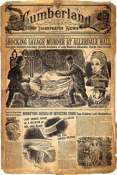 """Enter the mysterious Allerdale Hall & unlock the secrets of Crimson Peak. """"Cumberland Illustrated News. The Bloody history of Allerdale Hall is front page news. Read all about it http://40.media.tumblr.com/2ebe31e33b64c48423f3fde5703968fb/tumblr_nvjd07jHFK1ta3hfqo5_1280.png """" http://www.crimsonpeakawaits.com/"""