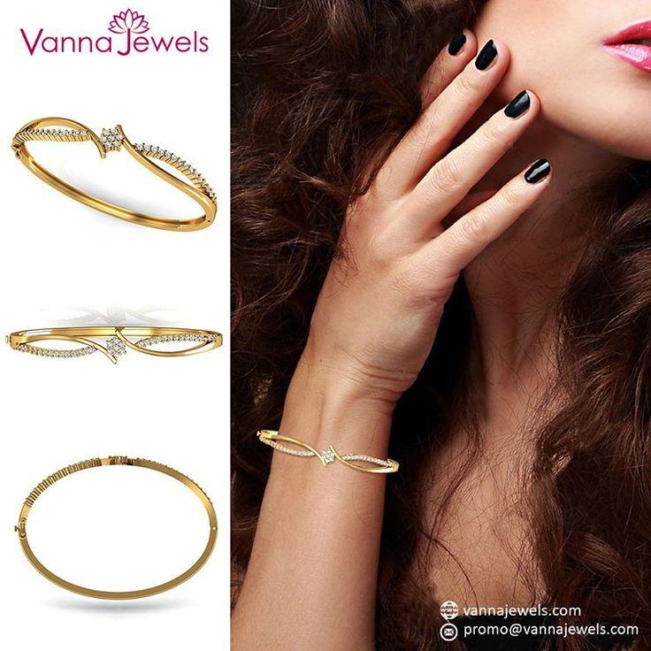 18k Solid Yellow Gold Designer Bangle Bracelet Genuine Certified Diamond Jewelry