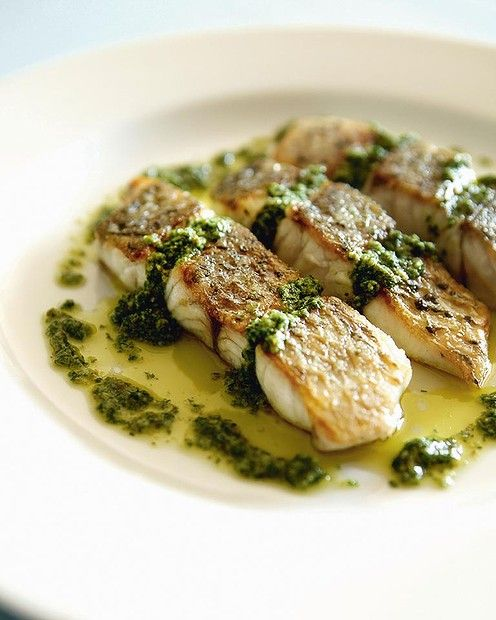 Pan-fried barramundi with salsa verde by Steve Manfredi. a href=http://www.goodfood.com.au/good-food/cook/recipe/panfried-barramundi-with-salsa-verde-20121123-29w49.html target=_blankView the recipe./a