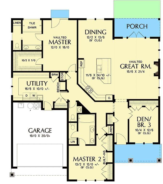 Einstockiger Hausplan Mit Zwei Master Suiten Grundriss 69691 Hauptebene Badezimmer Diy Ideen Best House Plans Dream House Plans Master Suite Floor Plan