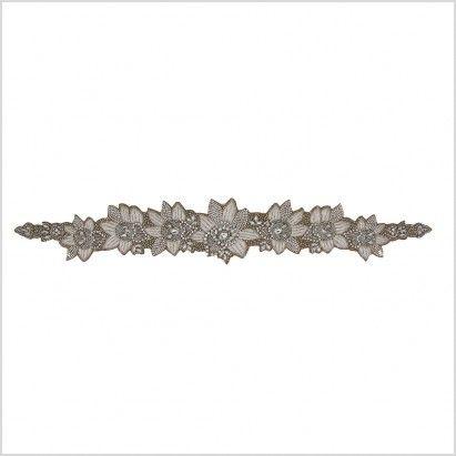 Silver/Ivory/Dark Beige Beaded Rhinestone Applique - Rhinestone - Appliques - Trims