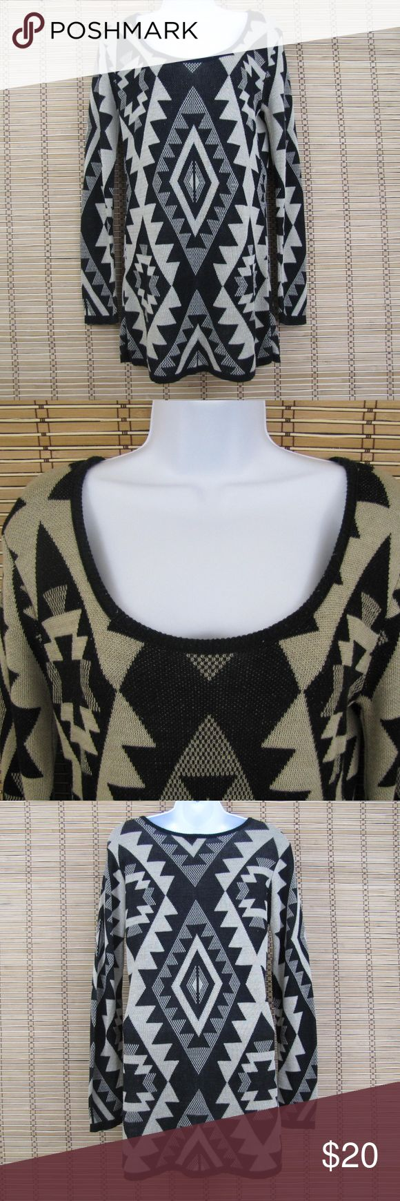 "Body Central Aztec Sweater Inventory # D099  EXCELLENT CONDITION!!!  ** No size tag tag on Top so please see measurements below for proper fit **  Pit to Pit:16.5""  Length: 27.5""  Sleeves: 24"" Body Central Sweaters Crew & Scoop Necks"