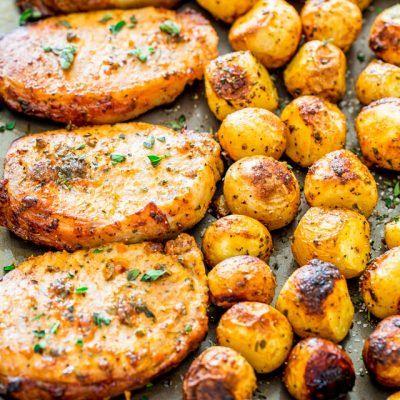 Ranch Pork Chops and Potatoes Sheet Pan Dinner