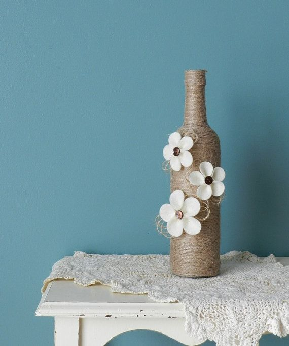 Jute Covered Glass Bottle with Handmade Ivory by BurlapNBlossoms, $22.00