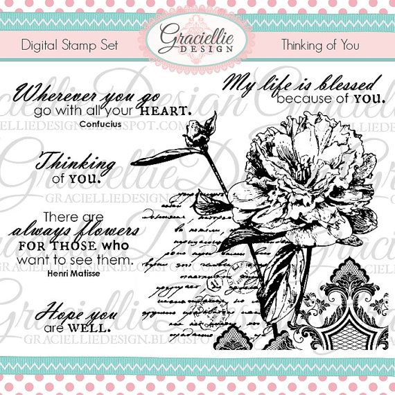 Thinking of You Digital Stamp Set by GraciellieDesign on Etsy