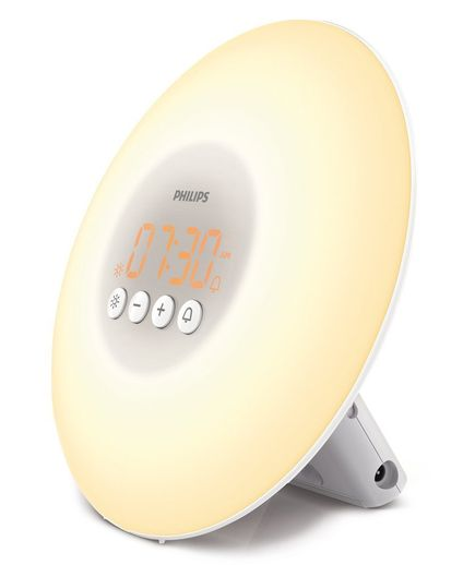 If you can't sleep in until the sun naturally wakes you, this clever clock might just be the next best thing. The light on the face mimics the yellow light of the sunrise and gradually increases in brightness until your designated wake-up time, when a gentle beep makes sure you stir.