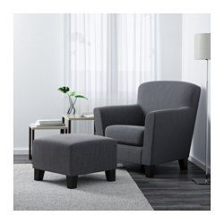 IKEA - EKENÄS, Armchair, Hensta grey, , The high back gives good support for your neck and head.Hardwearing cover of chenille quality with a slight sheen and a soft feel.10 year guarantee. Read about the terms in the guarantee brochure.