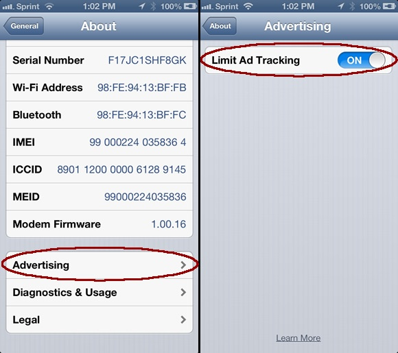 how to disable tracking on iphone