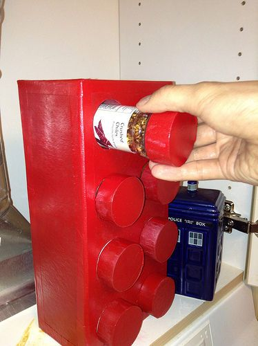 How-to build a Lego spice rack.  (and can I just say how awesome it is that it's next to a Tardis cannister??)