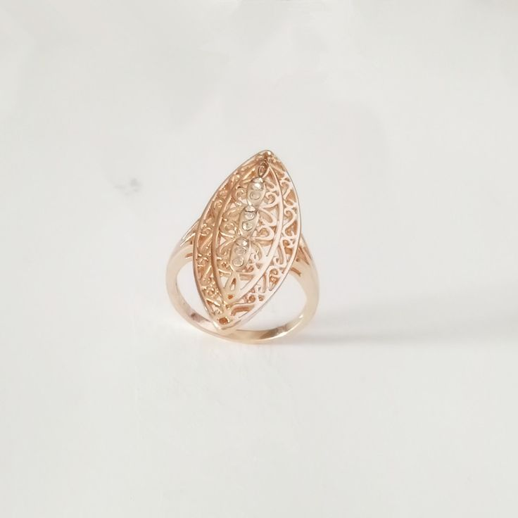 1 Piece New 585 Gold Women Rings Natural Stone Filled Leaf  Wedding Fashion Jewelry Vintage Long Infinity Gold 585 Women Ring