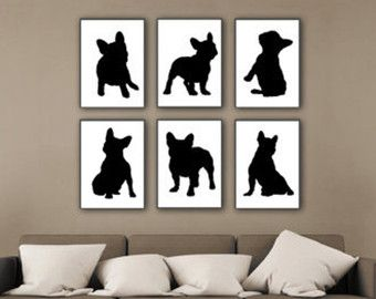 Frenchie Set van 6 kwekerij Art Print aquarel door Silhouetown