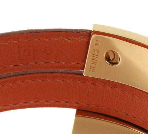 Hermes Orange Leather Bracelet Pusupusu Gold